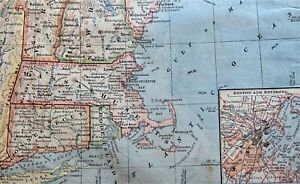 Vintage Color Map ~ New England ~ RI CONN MASS NH VERMONT MAINE Printed 1883