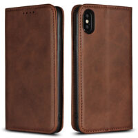 PU Leather Magnetic Flip Wallet Case Cover For iPhone X XR XS Max 8 7 6S Plus