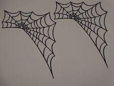 """(2) black spiderweb  4 7/8"""" wide 6"""" tall  greeting card die cut"""