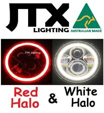 """1pr JTX 7"""" LED Headlights RED WHITE Ford Mustang GT Shelby Fastback Convertible"""