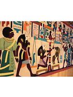 "EGYPTIAN ART DECO HIEROGLYPHICS VINTAGE HAND APPLIQUÉ WALL TAPESTRY  77""X33"""