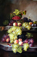 Wine Table Grapes Fruit Classic Still Life Tall Oil On Canvas Painting STRETCHED