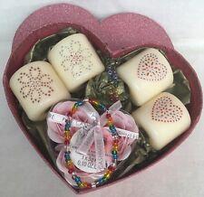 Pink Themed Glitter Heart Gift Box - Votive Candles - Jewellery - Bath Confetti