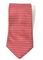 Lancel Paris Mens Red Tie Dot Pattern Classic Woven Silk Necktie Made in France