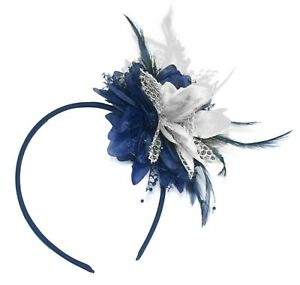 Flower Feather Hair Fascinator on Headband Wedding Royal Ascot Races Bespoke