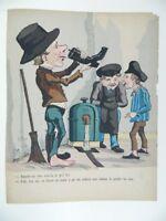 Grabado Humor Colores En Plantilla S.XIX Gustave Frison Imp.Bernard C.