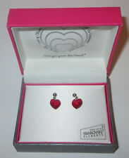 Red Heart Earrings Crystal Pierced Made with Swarovski New in Gift Box