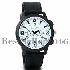 Mens Boys Big Face Sports Watch Silicone Band Sport Outdoor Casual Wristwatch