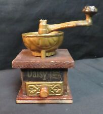Vintage Miniature Daisy Coffee Grinder, Cast Iron and Wood