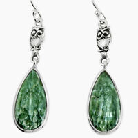 11.93cts Natural Green Seraphinite (russian) 925 Silver Owl Earrings P91915