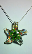 Murano glass Green Starfish Design on 925 Sterling Silver Necklace