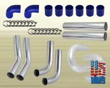 "4"" Large Tubing Aluminum 8PCS Turbo Intercooler Piping Kit Blue Coupler T-Clamp"