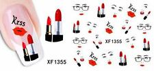 Lipstick Face Kiss 3D Nail Art Sticker Decal Decoration Manicure Water Transfer