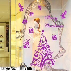 64cm/100cm Christmas Tree Xmas Present Angel Wall Shop Window Decoration Sticker