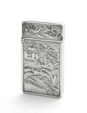 Antique Chinese Cast Silver Pictorial Card Case with Crane, River & Cartouche