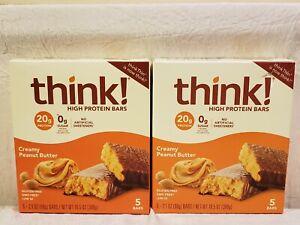 (2) Boxes think! High Protein Bars, Creamy Peanut Butter, 5 Bar Each 10 bars