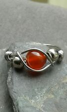 Carnelian Gemstone Artisan  Silver Steel 316 Wire Wrapped Ring ANY SIZE