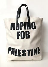 CELINE Cream Canvas Cabas Palestine Charity Tote Bag with Black Leather Handles