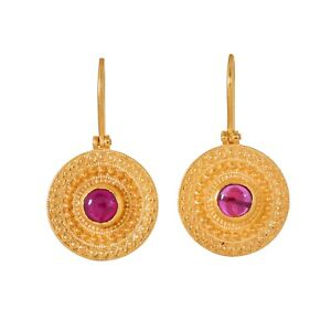 Incredibly Handcrafted Ruby Vermeil 14K Gold Over Sterling Silver Earring