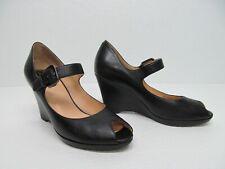 Cole Haan Black Leather Peep Toe Mary Jane Wedge Heel Size Womens 6.5B
