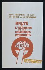Affiche originale mai 68 HALTE A L'EXPULSION DE NOS CAMARADES french poster 1968