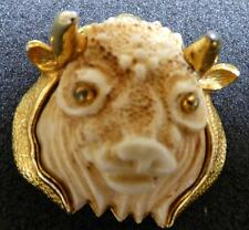 SIGNED RAZZA ZODIAC SIGN TAURUS BULL HEAD PIN/BROOCH VINTAGE B-17