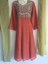 Salwar Kameez Saree Indian Bollywood Fancy Dress Costume (S) UK 8-10 Orange