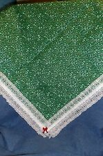 """**NEW** Handmade Silver Boughs & Snowflakes Green Table Cloth - 44"""" x 44"""" Square"""