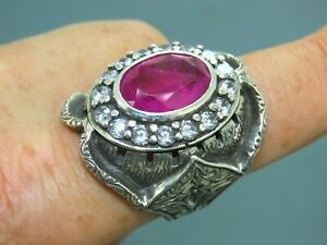 Turkish Handmade Jewelry 925 Sterling Silver Ruby Stone Men Ring Sz 10