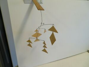 Hanging Mobile Hand Made Artist Made Kinetic Art wood wire on ruler