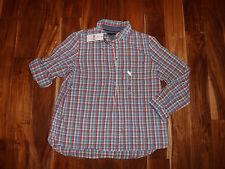 NWT Womens TOMMY HILFIGER Red Blue White Plaid Roll Tab Sleeves Shirt Sz L Large