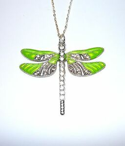 Beautiful large sparkly lime green enamelled dragonfly necklace