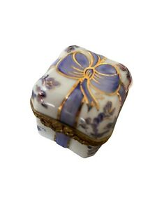 Limoges Box - Blue Floral Bow Gift Box Limoges Box