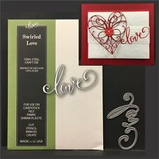 SWIRLED LOVE metal die - Poppystamps dies 1636 words,phrases,valentines,wedding
