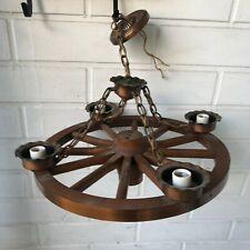 """VTG  Lamp Wagon Wheel Chandelier ceiling 4 Light Wooden & Brass 20"""" diameter"""