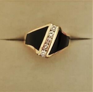 14K Gold Ring Inlaid Black Onyx 5 Diamonds Heavy Art Deco Band Sz 6 Mens/Women's