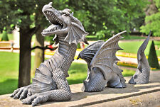 Sehr großer 3 tlg. Drache, Gartendrachen Drachenfigur Fantasy Gargoyle Mystik