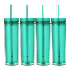 Set of 4  Tall Skinny Tumblers, Acrylic 16 Ounce Tumblers with Straw