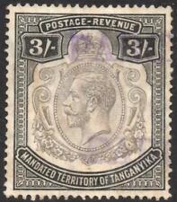 TANGANYIKA: 1927-1931 - Sg 104 - 3/- Black Fiscally Used Example (35854)