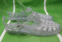 new ladies Womens CLEAR Summer Beach Retro Flat Jellies Jelly Sexy Sandal Size 6