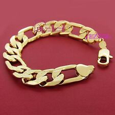 Mens Real Solid 18ct Yellow Gold GF Bracelet Bangle Chunky Engraved Figaro Chain