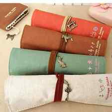 High Quality Canvas Roll Up Pencil Case Makeup Brush Bag Student's Stationery