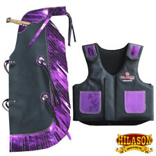 Bull Riding Vest Hilason Junior Youth Bull Pro Rodeo Leather Chaps U-876Y