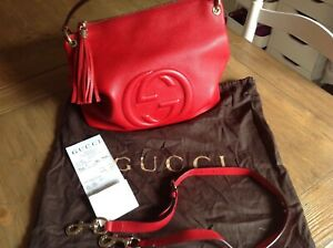 Large Gucci Soho Convertible Hobo Bag - Red Leather