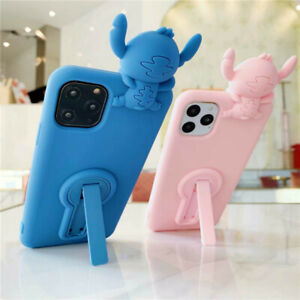 Cute Stich Stand Silicone Shockproof Case Cover for iPhone 11 Pro XS Max XR 7 8+