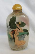Antiguo chino interior pintado tabaco botella de vidrio-Baño Damas C 1930s