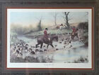 """George Wright """"Crossing the Ford"""" Equestrian Vintage Color Engraving/Lith"""