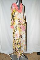 AMERICAN GLAMOUR Badgley Mischka NWT, Cowl-Neck, Pastel Florals, Maxi Dress,Med