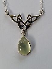042 Celtic Necklace Prehnite gemstone solid 925 sterling silver rrp$79.95