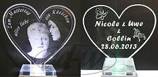 Herz aus Acryl mit Ihr Wunsch Motiv Bild Foto Fotogravur Valentinstag Muttertag